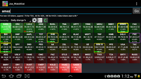 Realtime Stock Quotes & Tiles- screenshot thumbnail