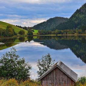 Autumn reflection by Hilde Lorgen - Landscapes Waterscapes ( water, reflection, nature, autumn, boathouse )