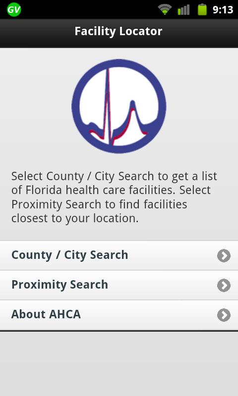 AHCA Mobile Facility Locator- screenshot