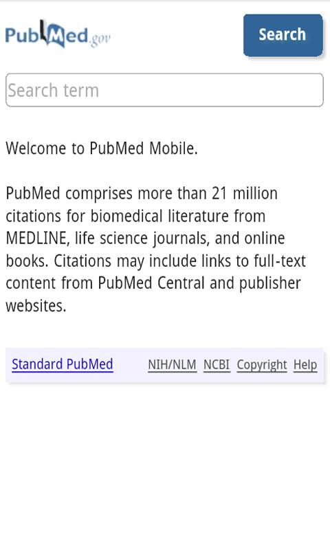 PubMed search - screenshot