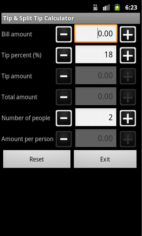Tip & Split Tip Calculator - screenshot