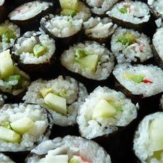 Cucumber and Avocado Sushi.