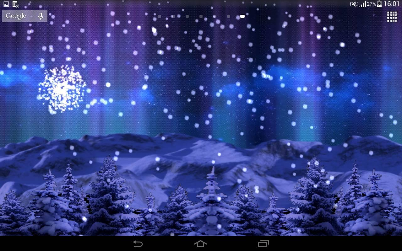 3d snowfall live wallpaper screenshot - Snowfall Christmas Lights