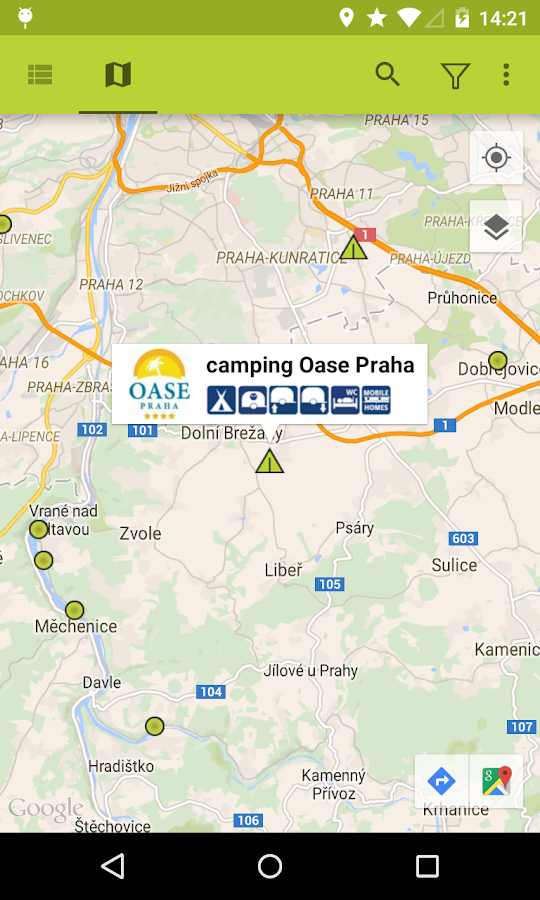 Campings Tsjechië: screenshot