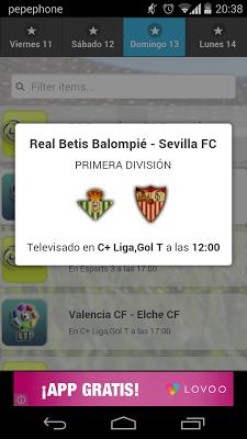 Partidos Televisados - screenshot