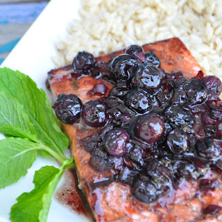 Blueberry Balsamic Glazed Salmon.