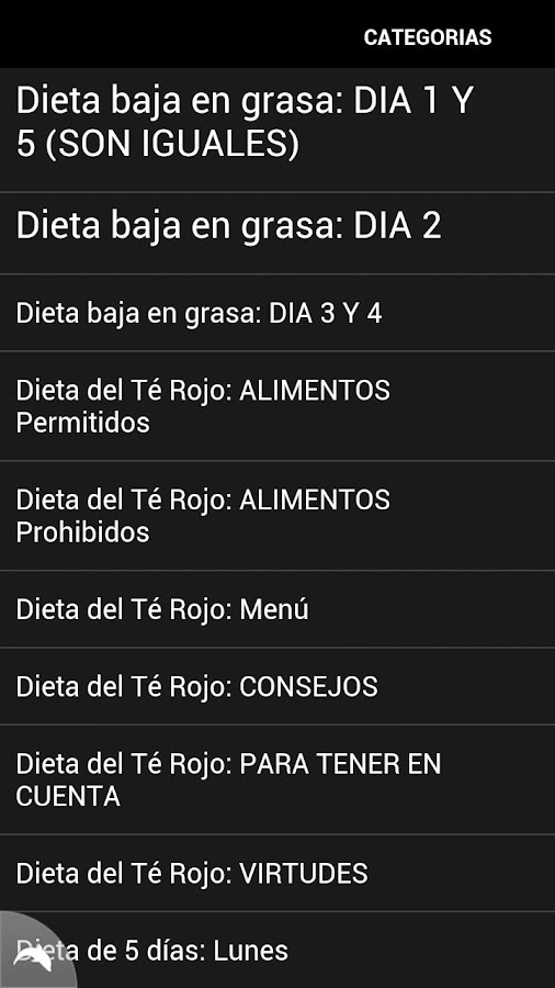 Dieta de 5 días - screenshot