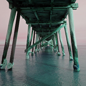 Jetty at Dusk by Pamela Howard - Buildings & Architecture Bridges & Suspended Structures ( water, sunset, cloud, sea, jetty, dusk, seasky )