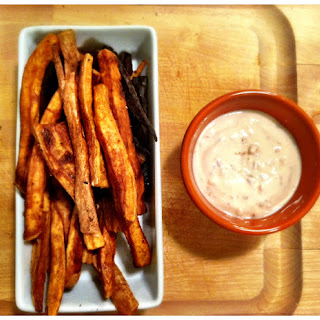 Sweet Potato Curry Fries with Spicy & Sweet Sour Cream.