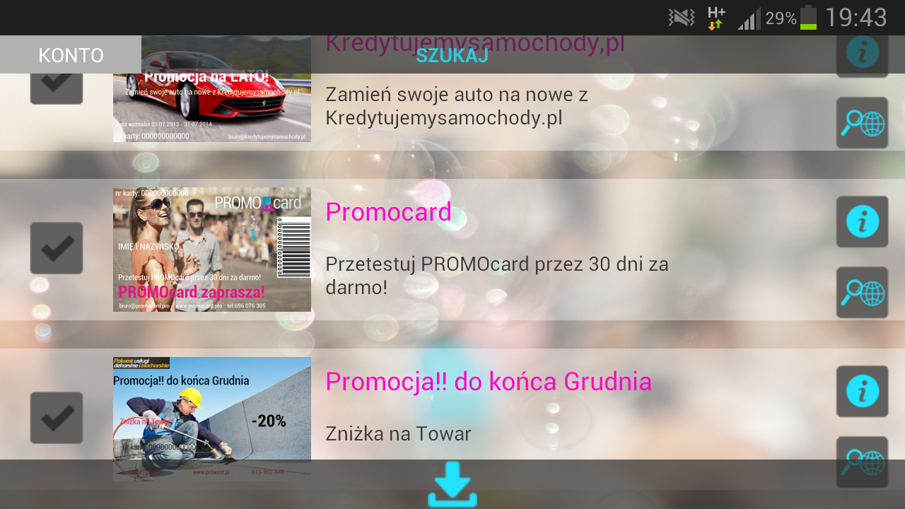 PROMOcard - screenshot