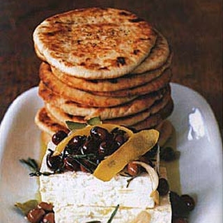 Feta and Marinated Niçoise Olives with Grilled Pitas