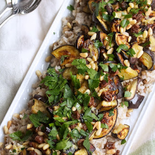 Mixed Grains with Roasted Eggplant, Pine Nuts & Raisins