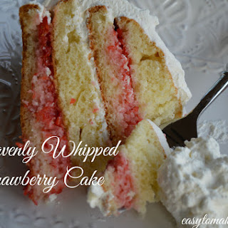 Heavenly Whipped Strawberry Cake.