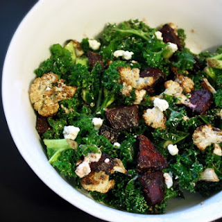Warm Kale Salad with Roasted Beets, Cauliflower, and Goat Cheese.