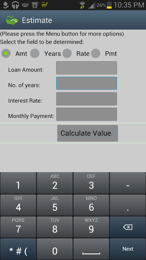 Mortgage Auto Loan Calculator- screenshot