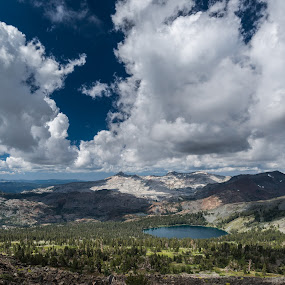 Gilmore Lake with Clouds by Adam Collins - Landscapes Mountains & Hills ( clouds, gilmore lake, tahoe, mt. tallac, thunder clouds, desolation wilderness )
