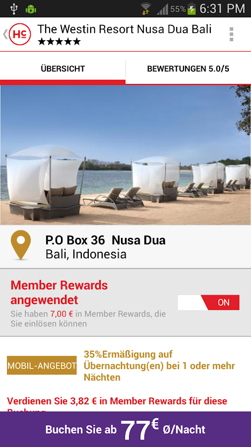 HotelClub:Hotels bis zu 70% – Screenshot