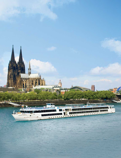 Viking-Legend-in-Cologne-Germany -  Viking Legend sailing the Danube through historic Cologne, Germany. The ship also calls on Hungary, Austria and Slovakia.