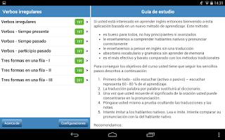 Screenshot of Verbos irregulares