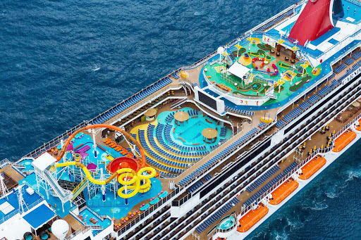 Carnival-Breeze-aerial-top-view - Carnival Breeze has a deck side pool, water park and a mini-gold course you can try out on your cruise to the Caribbean.