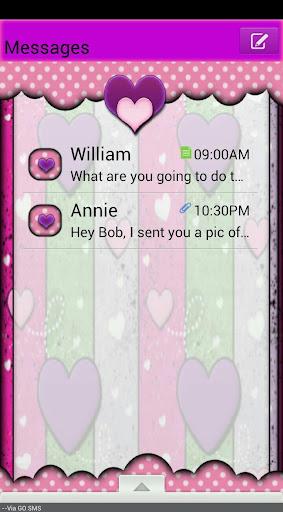 GO SMS THEME ColorfulHearts4U