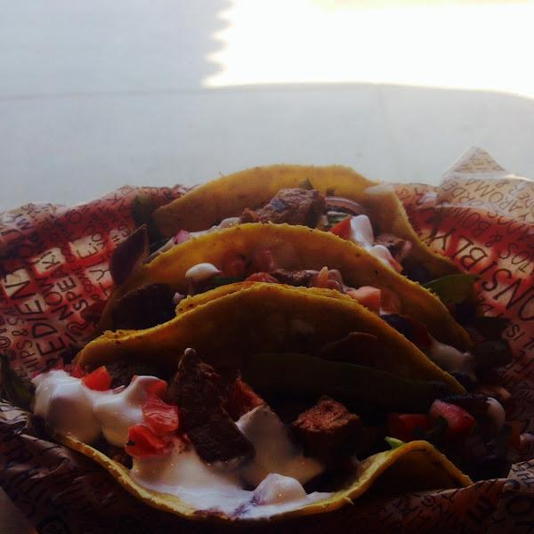 Steak tacos on corn tortilla