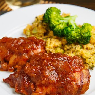 Slow Cooker Bacon Wrapped Apple BBQ Chicken.