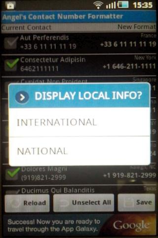 Contact Number Formatter - screenshot