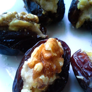 Goat Cheese and Walnut Stuffed Dates.
