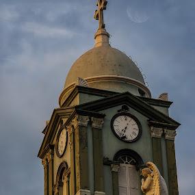Luna Dolorosa by Jorge Madrigal - Buildings & Architecture Places of Worship ( moon, sky, street, architecture, landscape, city, Urban, City, Lifestyle )