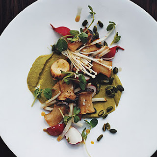 King Oyster Mushrooms with Pistachio Purée.