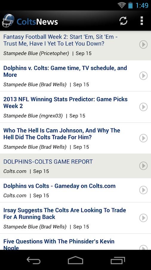 Colts News - screenshot