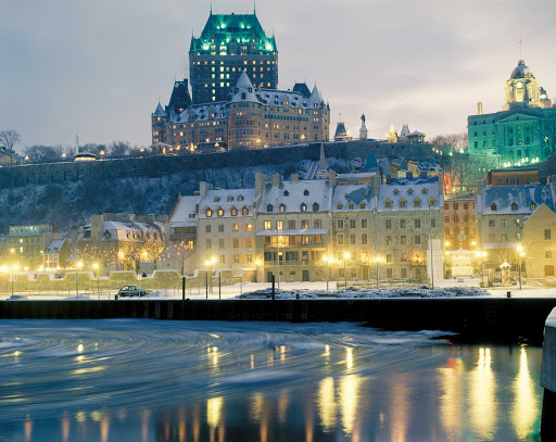 Chateau-Frontenac-Quebec-City - Chateau Frontenac, perched above the St. Lawrence River in Quebec City at dusk.