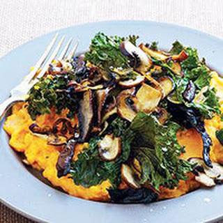 Roast Mushrooms and Kale over Mashed Sweet Potatoes.