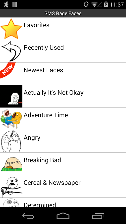 SMS Rage Faces- screenshot