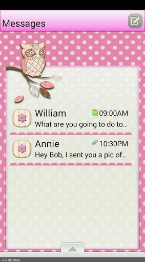 PolkaDotOwl GO SMS THEME