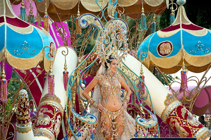 An elaborately costumed performer at the Carnival of Santa Cruz de Tenerife in the Canary Islands, held each February.