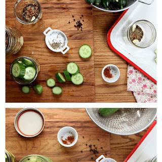 Homemade Garlic Dill Cucumber Pickles.