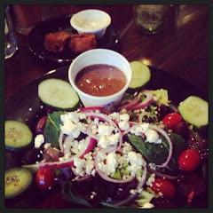 Gouda Tots and Greek Salad