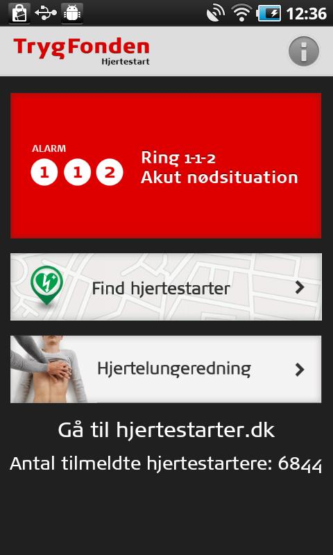 Trygfonden Hjertestart - screenshot