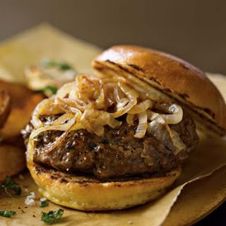 Spiced Lamb Burgers with Caramelized Onions & Spicy Fried Potatoes (Cloves)