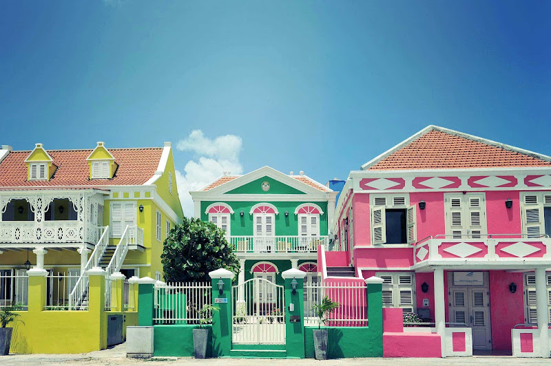 The brightly painted houses of Willemstad, Curacao, are world famous.