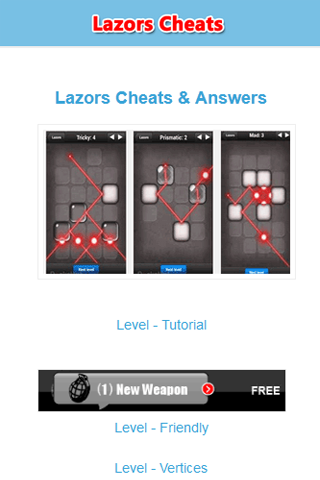 Lazors Cheats Guide Answers - screenshot