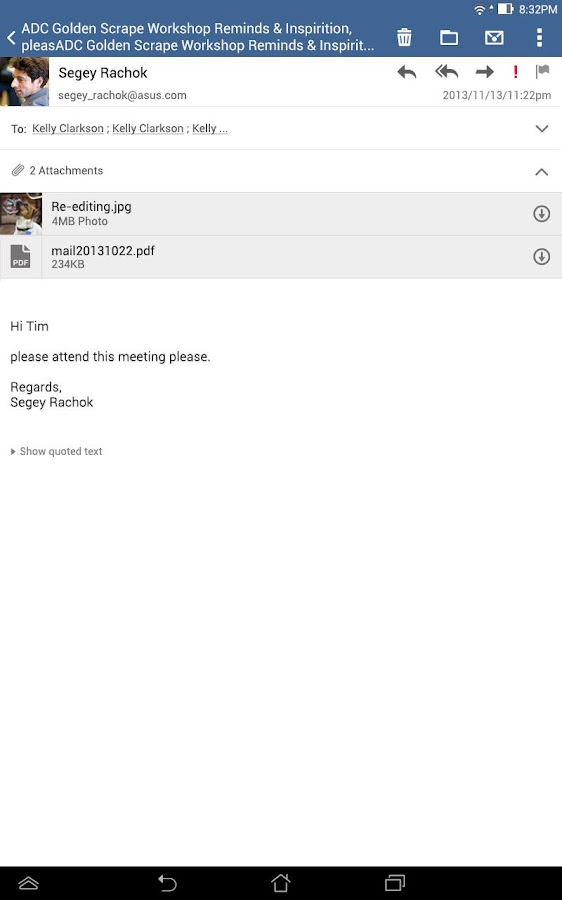 Screenshots of ASUS Email for iPhone