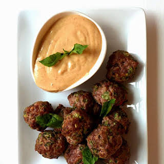Thai Meatball Poppers with Creamy Peanut Dipping Sauce.