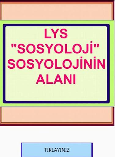 LYS SOSYOLOJİ NİN ALANI