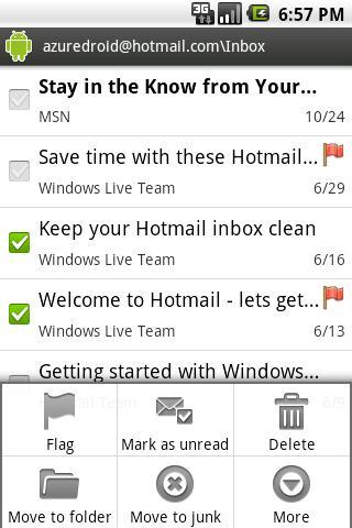 Azure Hotmail - screenshot