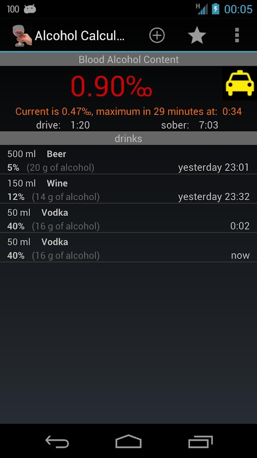 Alcohol Calculator - screenshot