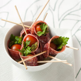 Pesto and Salami Wrapped Tomatoes