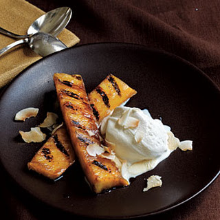 Rum-Spiked Grilled Pineapple with Toasted Coconut.